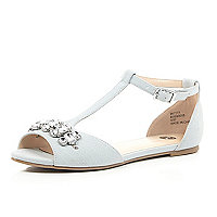 Light blue embellished T-bar shoes