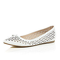 White laser cut ballerina pumps