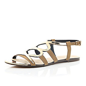 Brown gold trim gladiator sandals