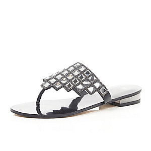 Black square jewel sandals