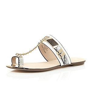 White snake print chain sandals