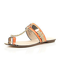 Orange snake print chain sandals