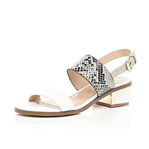 White snake print block heel sandals