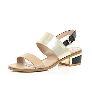 Beige block heel sandals