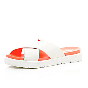White crossover pool slider sandals