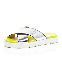 Silver crossover pool slider sandals