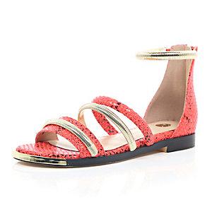 Red snake print strap gladiator sandals