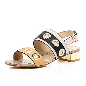 Nude colour block eyelet sandals