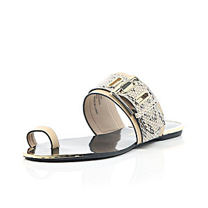 Light pink buckle loop toe sandals