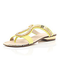 Yellow chain loop sandals