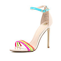 Bright pink triple strap barely there sandals