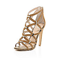 Dark beige leather caged gold trim sandals