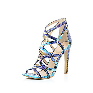 Blue snake print caged heels