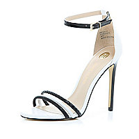 Black triple strap barely there sandals