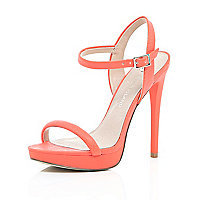 Orange snake print barely there sandals