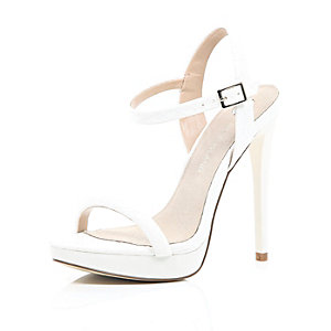 White snake print barely there sandals