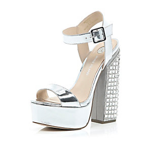 Metallic silver gem encrusted block heels