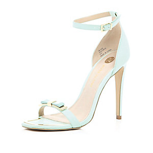 Mint green bow barely there sandals