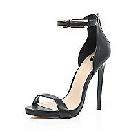 Black leather barely there gold strap sandals