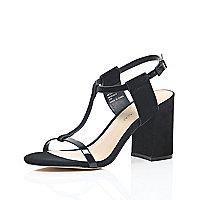 Black suede mid block heel sandals
