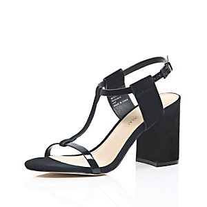 Black suede mid block heel sandals