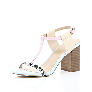 Light pink leather mid block heel sandals