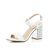 White gem encrusted mid heel sandals