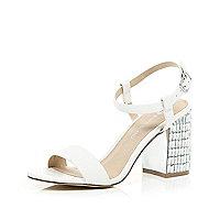 White gem encrusted mid heel sandals