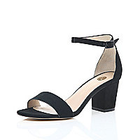 Black suede block heel sandals