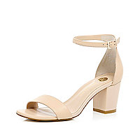 Nude leather block heel sandals