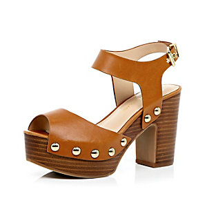 Light brown block heel clog sandals