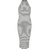 Cream stripe turtle neck midi dress