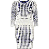Blue print jacquard jersey bodycon dress
