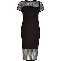 Black short sleeve mesh detail dress