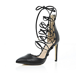 Black leather lace up court shoes