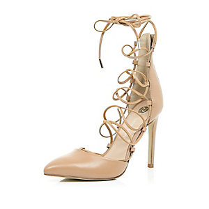 Nude leather lace up court shoes