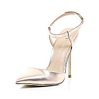 Rose gold leather strappy court shoes