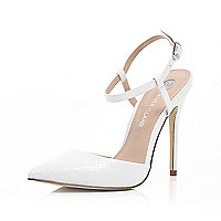 White leather snake print strappy court shoes