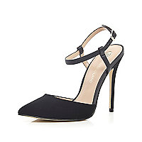 Black suede snake print strappy court shoes