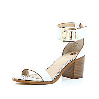 White chunky block heel sandals