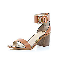 Brown chunky block heel sandals
