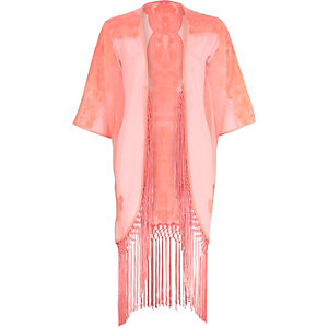 Coral pink fringed kimono