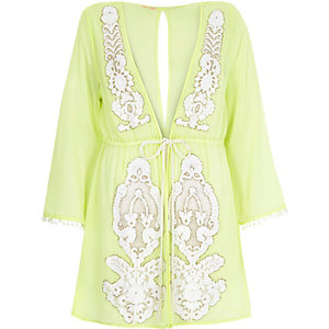 Lime green embellished drawstring kaftan