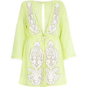 Lime green embellished drawstring kaftan