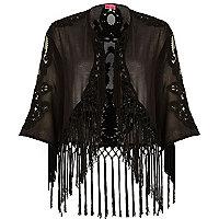 Black fringed cropped kimono