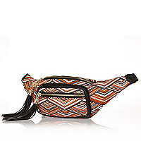 Orange printed tassel bumbag