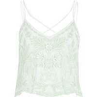 Mint green embroidered cami