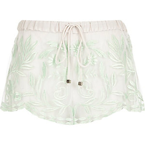 Mint green embroidered shorts
