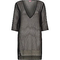 Black mesh side split tunic