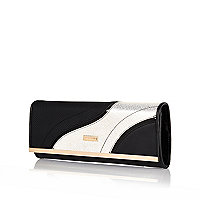 Black swirl print split front clutch bag
